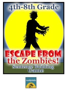 Escape from the Zombies! Sentence Building Game-4th-8th Grade  $ #zombiegame #zombieactivity #zombies