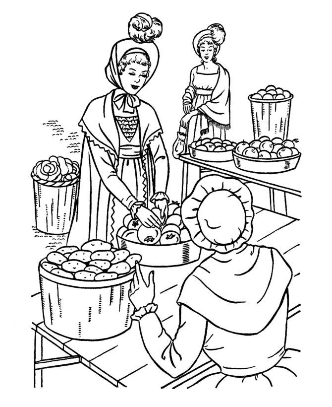 Early American Society Coloring Page
