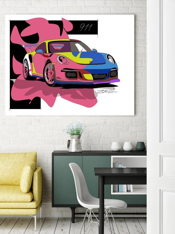 Porsche Porsche Art Print Large Red Blue Porsche Painting Etsy Canvas Art Painting Figurative Wall Art Kids Wall Decor