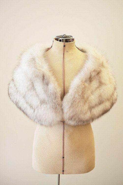 Vintage Bridal Cream and Tan Fox Fur Stole