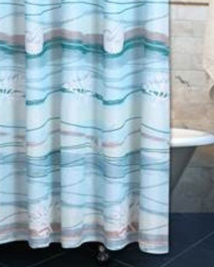 The waves of the Beach translated into a lovely cotton shower curtain. Shower Curtain focuses on the waves part of the print. Coordinate Quilt Set sold separately. Finished with 12 buttonholes for hoo