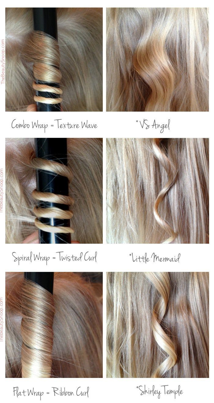How to wrap hair on wand for different curls