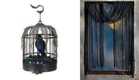Halloween Animated Talking Raven Crow in Cage with LED Illumination and Halloween Sound Effects - 9.84 In. & Black Creepy Cloth Bonus!