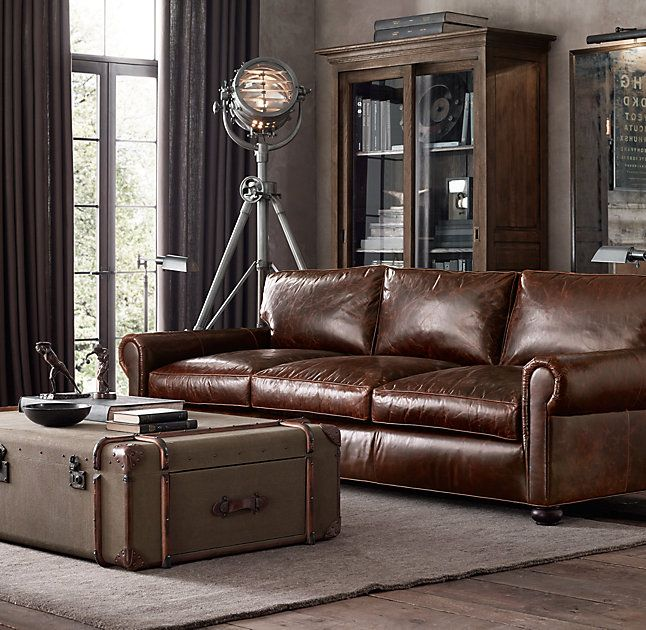 RH's Lancaster Leather Sofa:Exceptionally luxurious at nearly four feet deep, Lancaster features ultra-comfortable cushions and is available in rich, premium leathers.