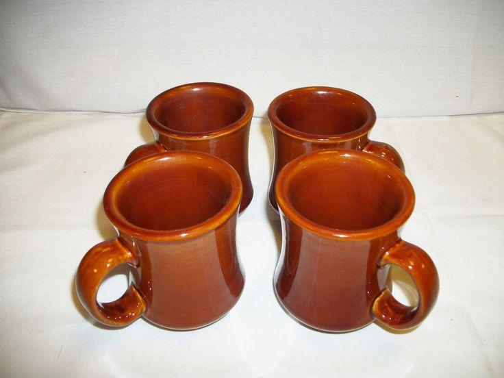"Set of 4 Crestware Brown Carmel Restaurant Ceramic Coffee Mugs Tea Cups 4"" Tall #Crestware"