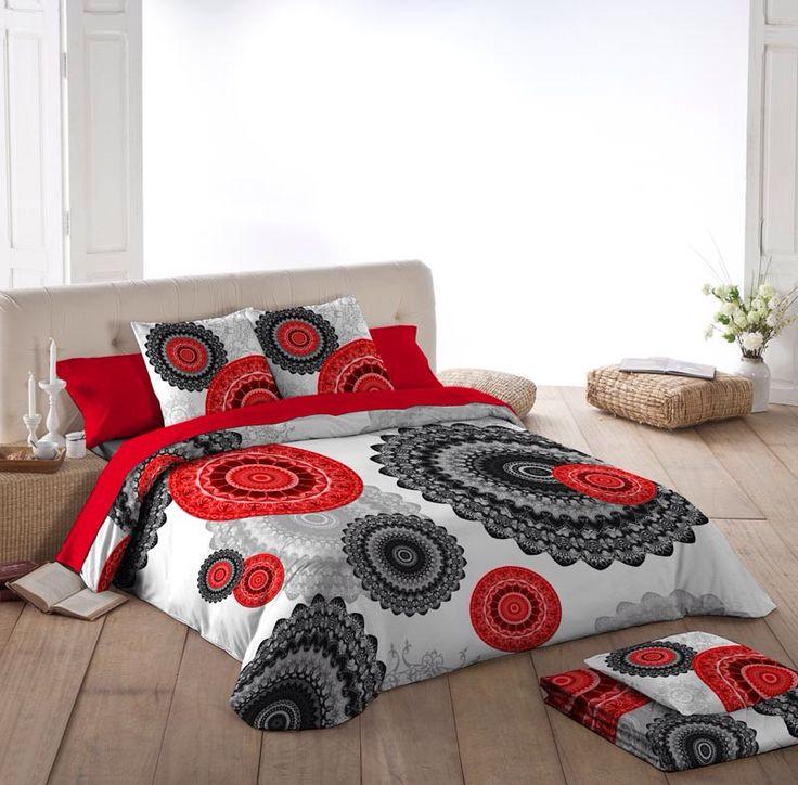 Funda nórdica mandala en colores rojos y negros, disponible para camas de 90, 105, 135, 150 y 180 cm.