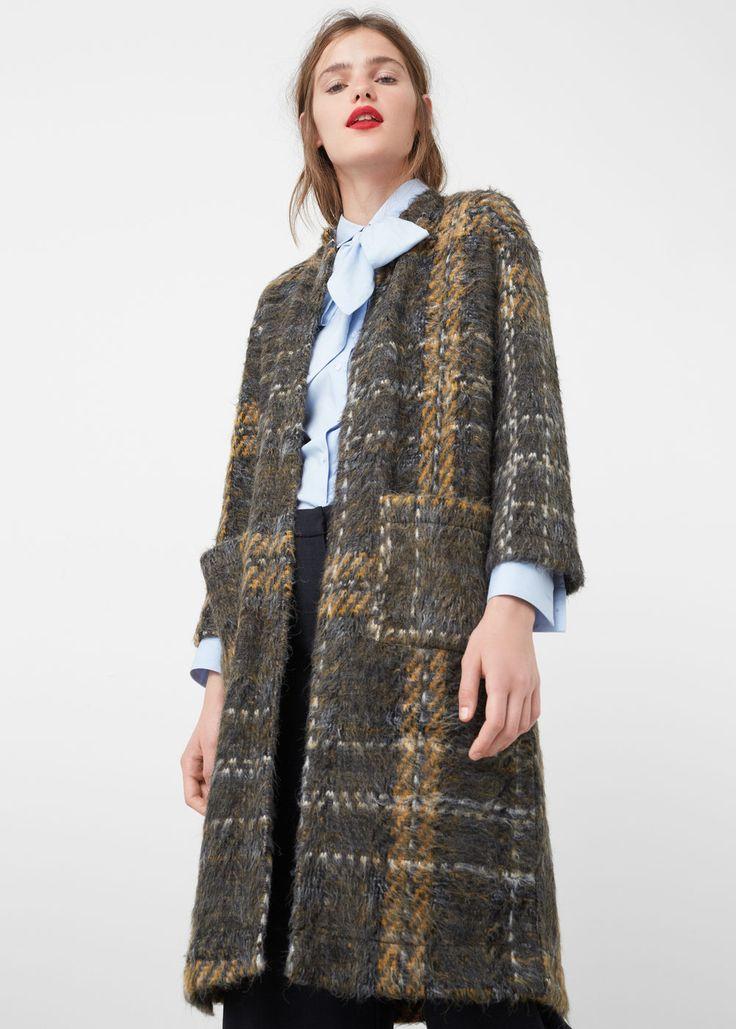 Kabát s kostkovanou texturou - Kabáty a bundy for Žena | MANGO Česká republika