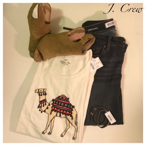 NWT J. Crew Camel Tee Darling new shirt with camel- love this shirt! 100% cotton. BUNDLE UP & SAVE 10% on TOTAL PURCHASE & $$ on shipping  J. Crew Tops Tees - Short Sleeve