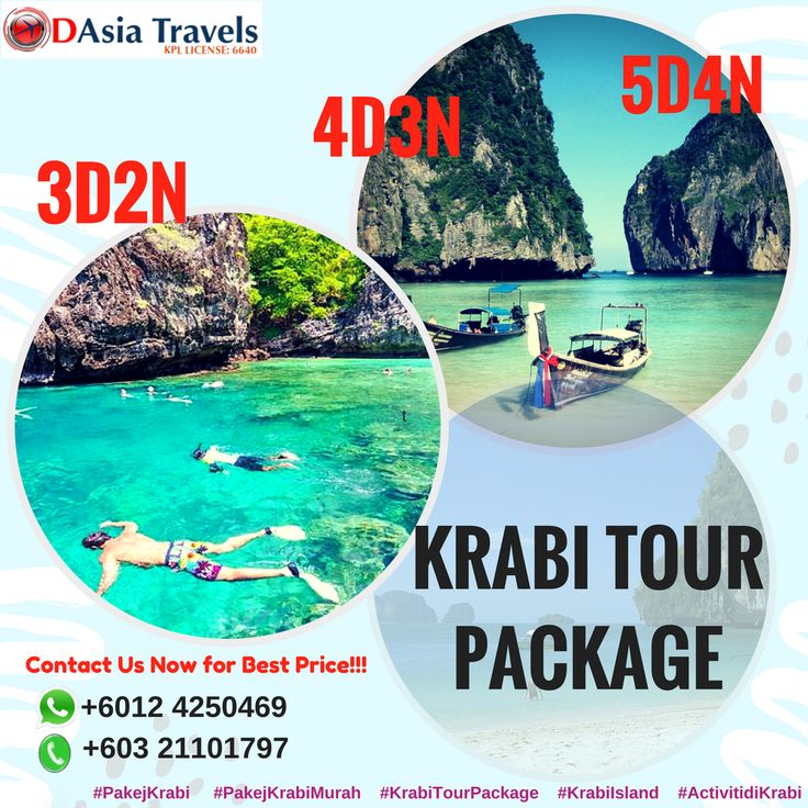 Plan trip to Krabi, Thailand? still wondering what are activities to do in Krabi.  Get best package to Krabi, Thailand from D Asia Travels.  KRABI TOUR PACKAGES: http://www.1dasia.com/holiday-tour-pa…/Thailand/Krabi-Island  #pakejkrabi #pakejkrabimurah #krabitourpackage