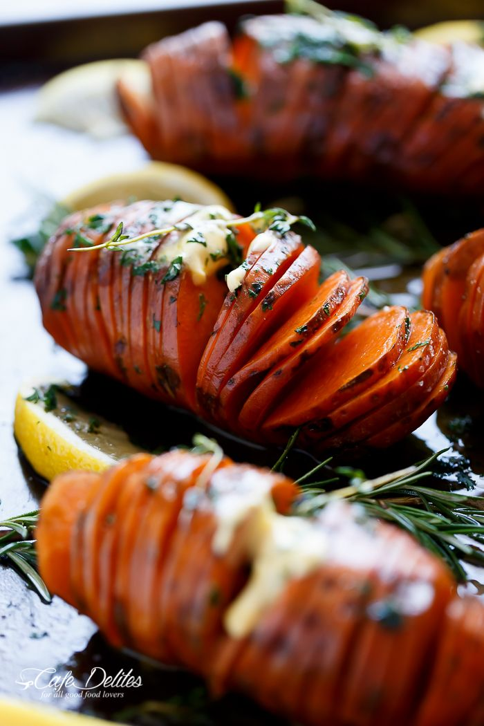 Hasselback Herbed Garlic Butter Sweet Potatoes - Crispy on the outside ...