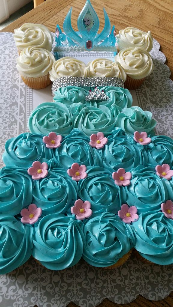 Frozen cupcake dress cake by Cathy, Santa Cruz, CA, www.birthdaycakes4free.com