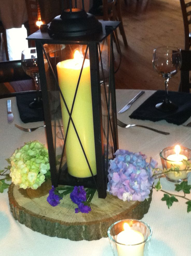 Winery lantern centerpiece with hydrangea s mother of