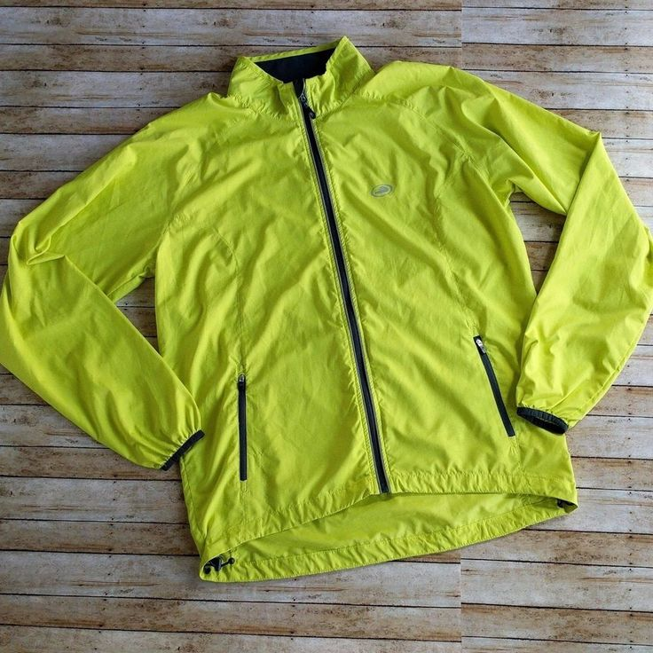 Performance Bicycle Zip Front Light Jacket Lime Green Yellow Size Medium Neon #PerformanceBicycle