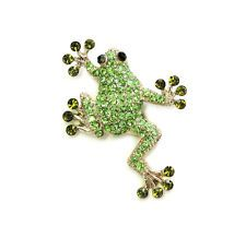 Hinreißend Grün Kristall Glück Frosch Anstecknadel Brosche T58