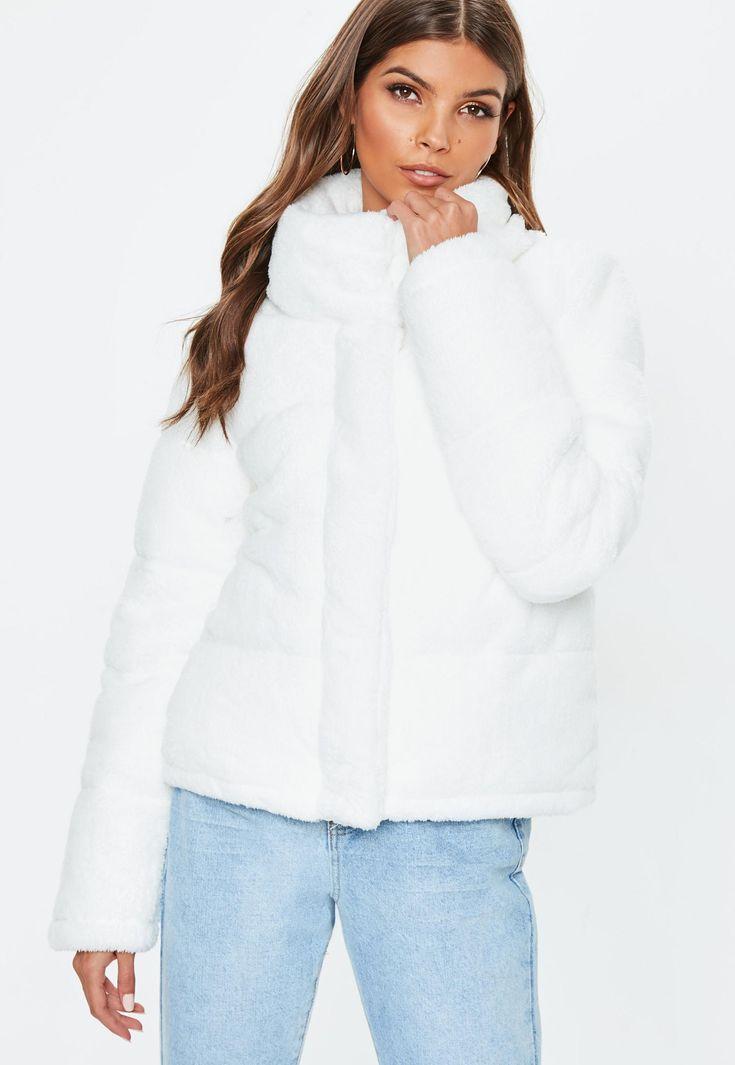 Missguided White Faux Fur Puffer Jacket   Winter Wardrobe