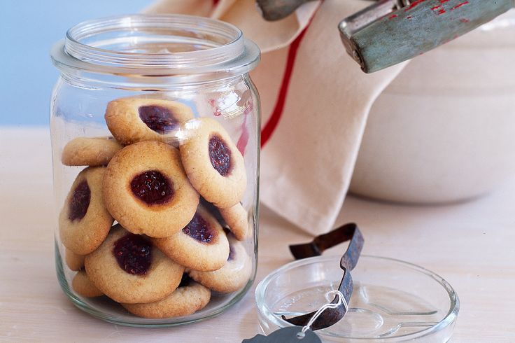 Whip up these simple jam drops in just a few minutes, they make wonderful any-time treats http://www.taste.com.au/recipes/7317/jam+drops #jam #jars