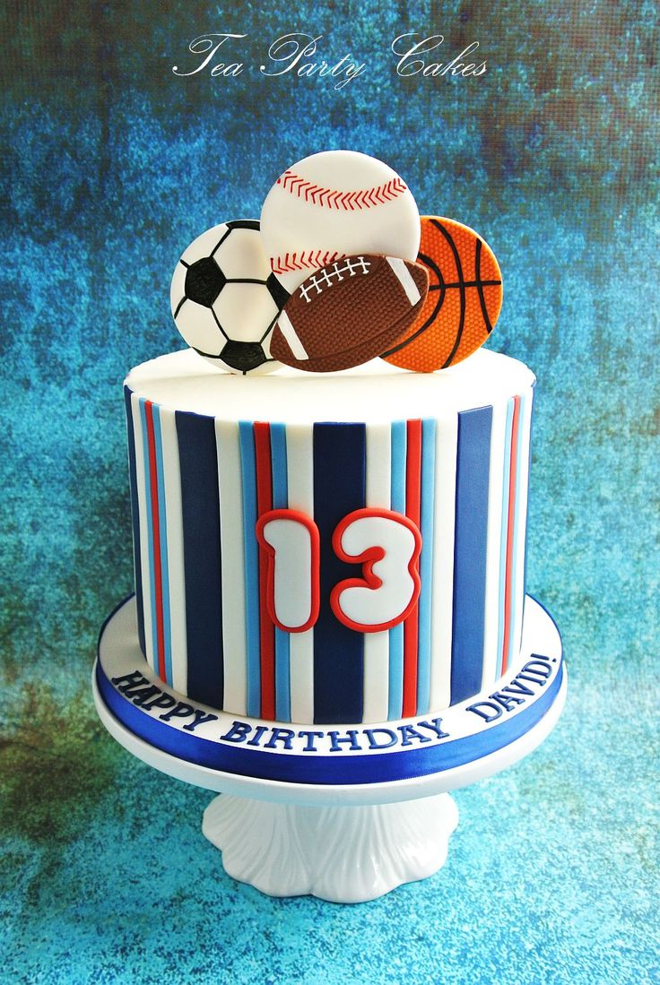 Sports themed birthday cake. www.facebook.com/TeaPartyCakesbyNaomi