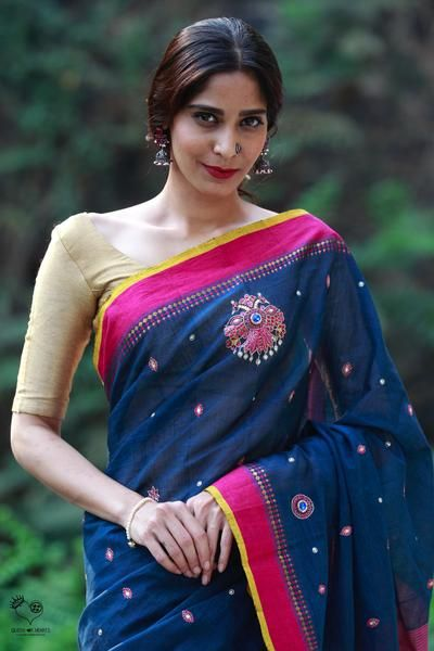 Indigo Pink Handloom Cotton GandaBerunda Saree