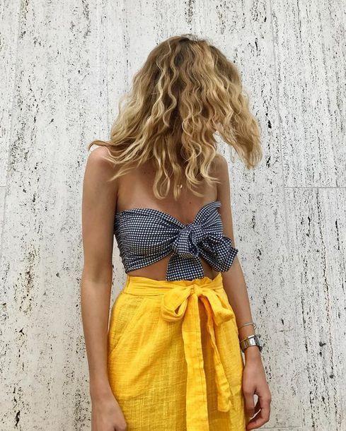 Monki Gingham Bow Front Bikini Teamed With ASOS Scuba Mini Skirt with Twist Detail