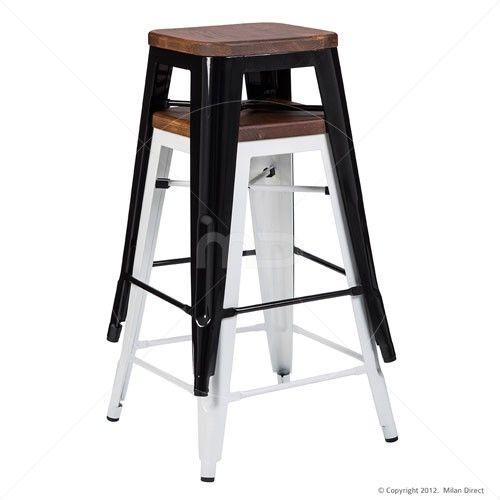 Vintage Metal Cafe Bar Stool Timber Seat - Xavier Pauchard Reproduction - 65cm - Black - Milan Direct