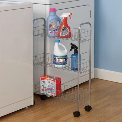 """Household Essentials Slimline Three Shelf Utility Cart in Satin Silver $28.07 8"""" wide"""