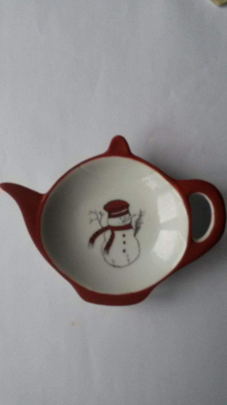Repose sachet thé porcelaine bonhomme de neige