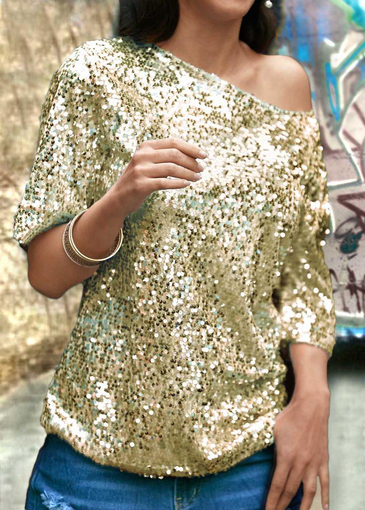 Sequin Embellished Skew Neck Gold T Shirt on sale only US$25.90 now, buy cheap Sequin Embellished Skew Neck Gold T Shirt at lulugal.com
