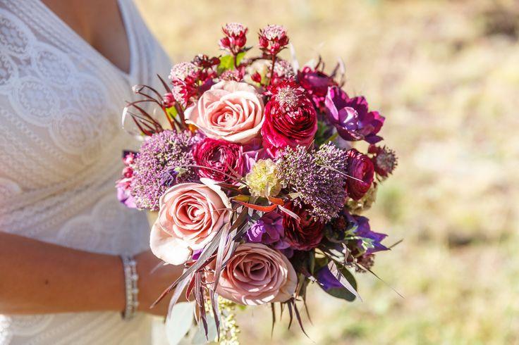 Plum Ranunculus, Rose, Scabiosa Bridal Bouquet