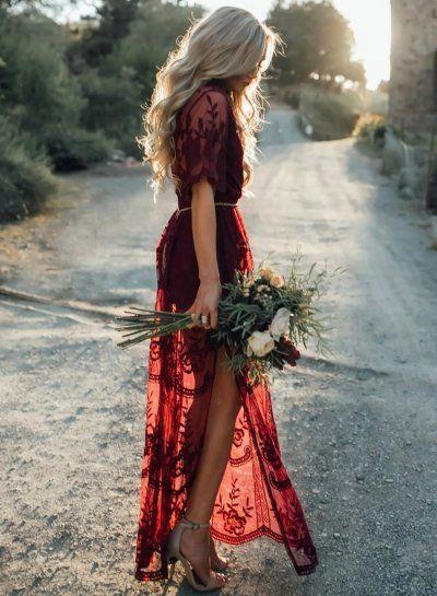 Pretty Deep V Neck Short Sleeve High Waist Lace Dress novashe.com