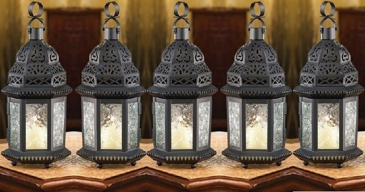 5 Candle Holders Lanterns Clear Glass Moroccan Hanging Iron Lamps