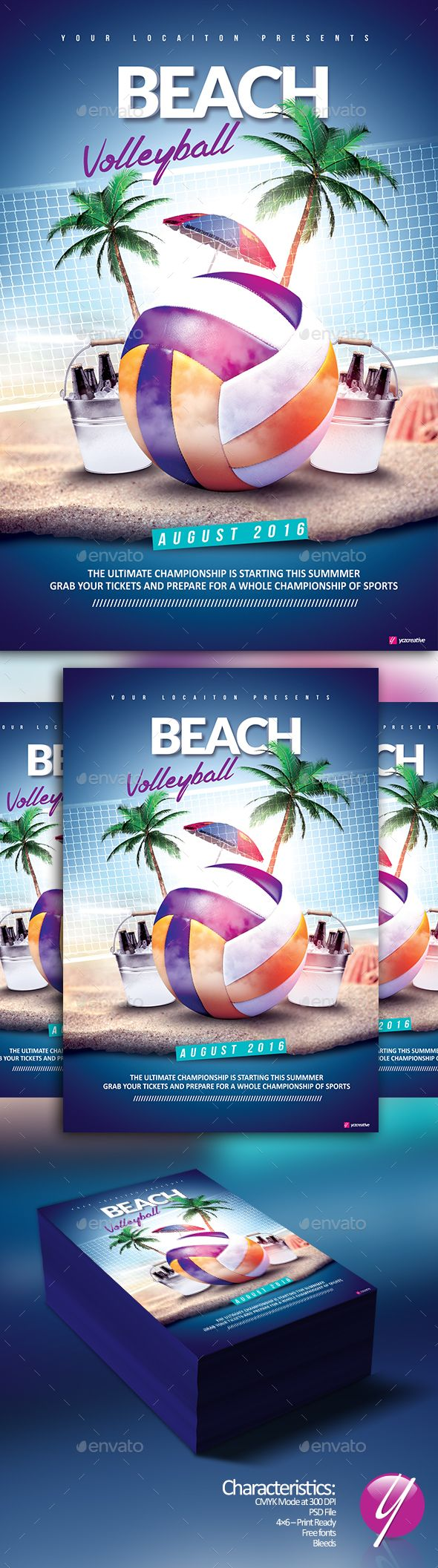 Beach Volleyball Event Flyer Template PSD. Download here: http://graphicriver.net/item/beach-volleyball-event/16684191?ref=ksioks