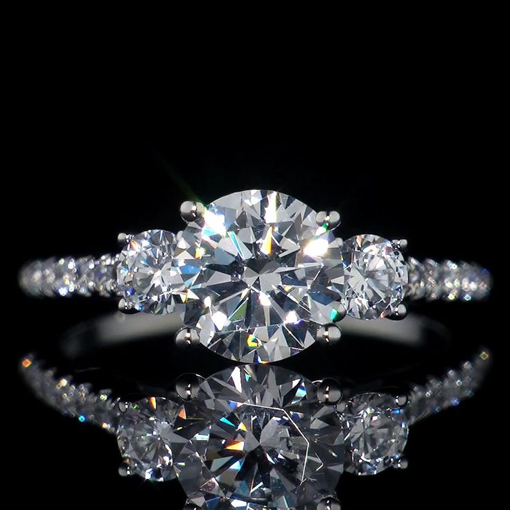 2.46 ct Three Stone Lab Diamond Engagement Ring 14K Solid White Gold #AristaJewels #SolitairewithAccents