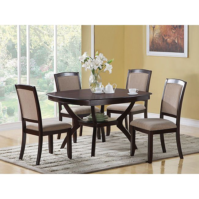 Oatmeal Color Chenille Fabric Cappuccino Wood Finish Dining Room Side Chair Pair 266 Formal