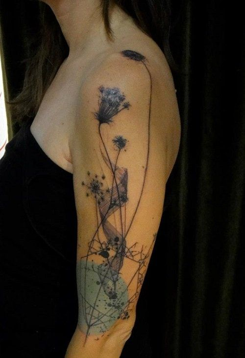 Watercolor flower sleeve tattoo