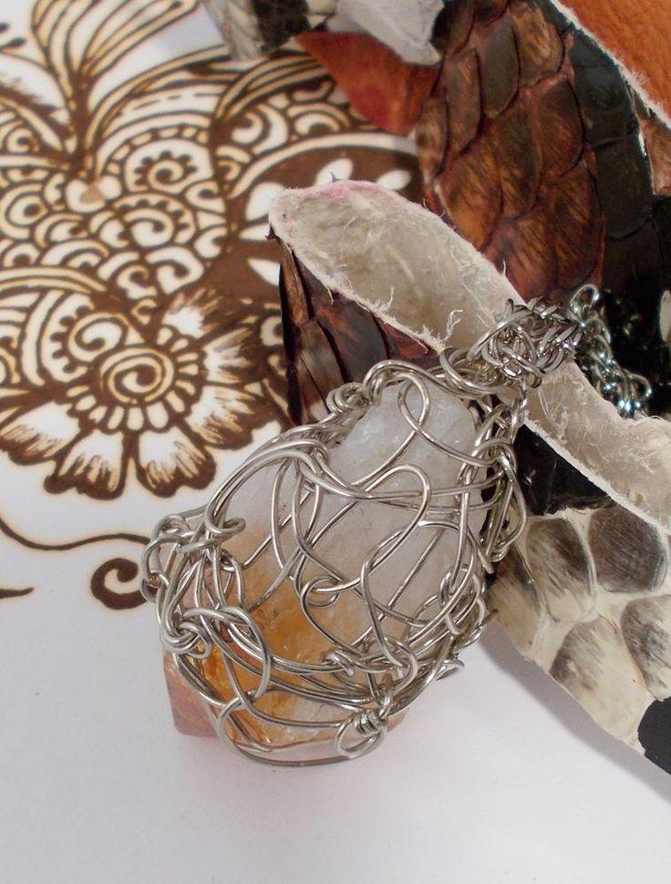 BOGO Raw Rough Citrine Healing Pendant  CHOKER Wire Wrap Artisan Jewelry  #JNorahz #Pendant