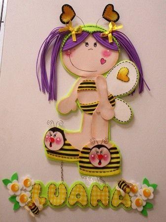 enfeite para porta fofucha abelhinha