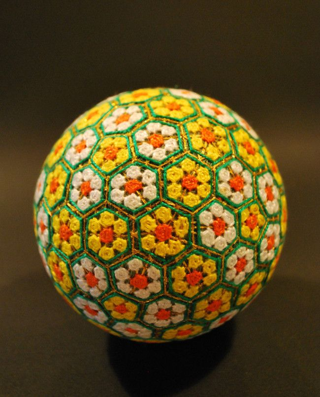 embroidered temari spheres by a 92 year old grandmother