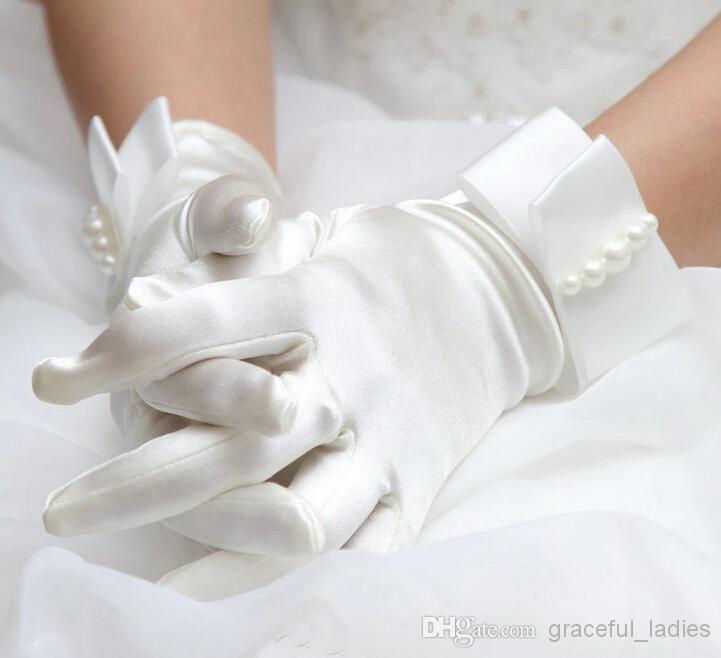 Civil Iovry Cetim Pérola Cintura Comprimento Luvas De Noiva Dedo Completa Luvas De Casamento Luvas Nupcial Luva