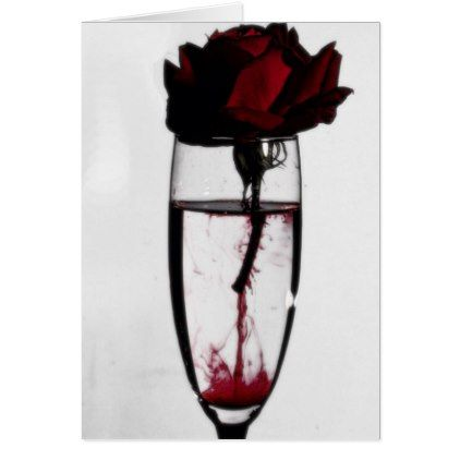 Bleeding Rose Champagne Glass Gothic Card - love cards couple card ideas diy cyo