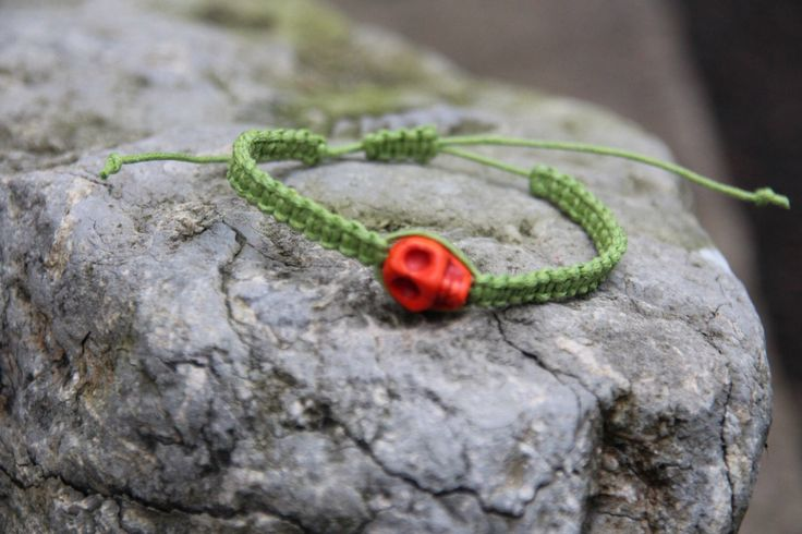 Getting Halloween ready with this skull macrame bracelet.  The Wicked Gift Shop  Etsy shop https://www.etsy.com/uk/listing/205527487/halloween-skull-green-adjustable-macrame