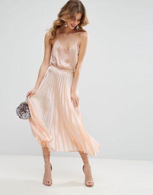 ASOS | ASOS Midi Skirt in Pleated Satin