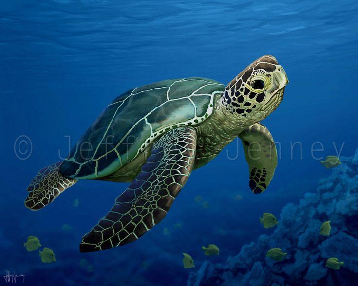 Tortugas marinas impresión  arte de una pintura Original  8