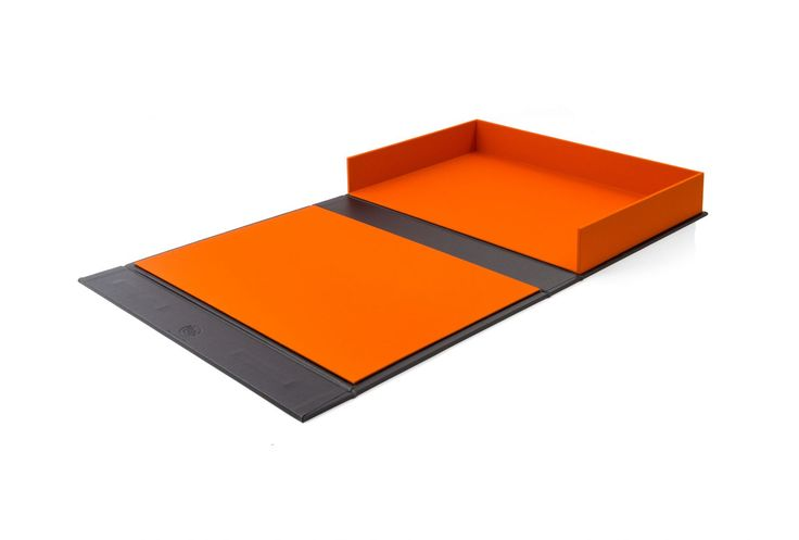 Drop Back Clamshell Box in Charcoal Buckram and Solo Orange Book Cloth.