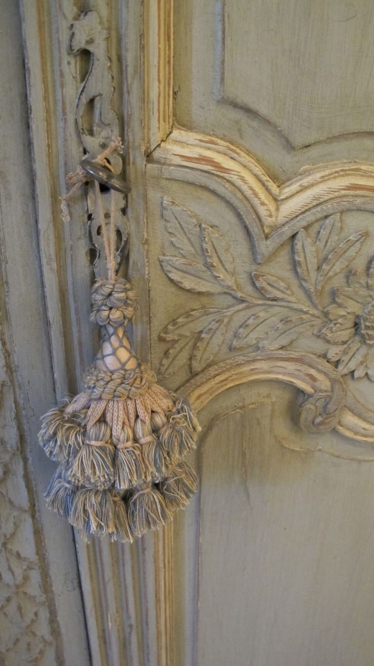 Antique French Painted Armoire with Tassel www.lindafloyd.com