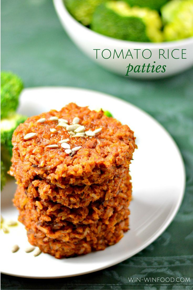 Tomato Rice Patties | WIN-WINFOOD.com These soft and flavorful Tomato Rice Patties with crispy edges make for a delicious #plantbased lunch or #dinner. #glutenfree