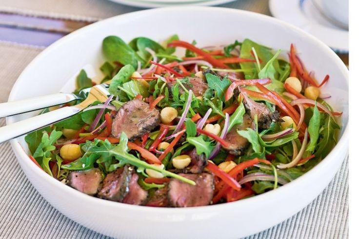 Inspired by the Australian bush, this iconic dish teams tender kangaroo meat with macadamia salad.