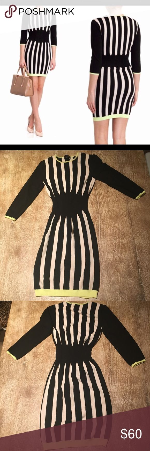 "Ted Baker ""Merica"" Bodycon Striped Dress, size 0 Ted Baker ""Merica"" Striped Bodycon dress in Black and Ivory with contrasting color hem/edging. Size 0. NWOT. Figure flattering. Three-quarter length sleeves. 75% viscose, 25% polyamide. Lots of stretch. Approx 33"" in length. No flaws. Ted Baker Dresses"