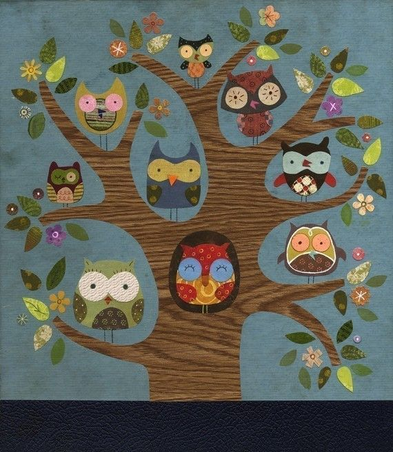 Friends of a Feather Owl Print with clean edge by lindasolovic