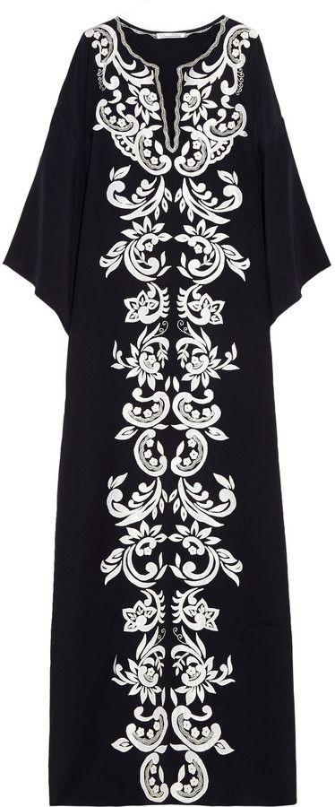 Oscar de la Renta Embroidered matte-silk maxi kaftan on shopstyle.com.au