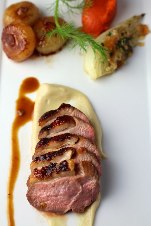 Pan-Roasted Duck Breast Magret caramelized cipollini onion, fennel, carrot quenelle